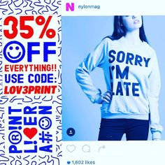 35% OFF BlakCyber Sale! PrintLiberation.com ((Sale Ends after Cyber Mon)) #blackfridaysale #cybermonday #sorrysorry #imsorry #sorryimlate #sorrybutnotsorry #imsorry #sorryboutit #sale #sundaysale #printliberation #nylon #nylonmagazine #nylonshop #giftideas #holiday2015