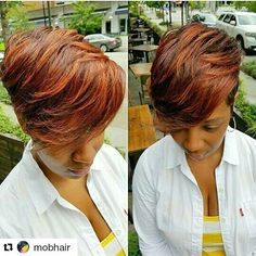 #Repost @mobhair with @repostapp ・・・ #cutandcolor #thehairtrinity @mrskj5 #ohmygawdlookathercut #SlaySomething #mobhair #ifyoucanmakeithair you'll make it anywhere! #likewhatyousee #doubletap #followmenow tell everybody! #investinyou #buildyourbrand Visit hairmobility.com Short Hair Dos, Short Sassy Hair, Short Hair Styles, Bob Styles, Cute Hair Colors, Cool Hair Color, Love Hair, Gorgeous Hair, Meagan Good