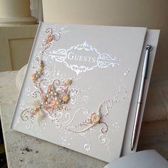 Beautiful Wedding Guest Book In Peach Champagne от Purebeautyart