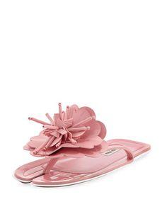 23caa56bb050f5 Miu Miu Runway Flower Split-Toe Flat Slide Sandal