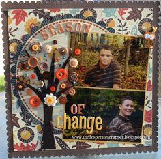 #papercraft #scrapbook #layout. Autumn, Fall, scrapbook layout by Sheri Feypel - Scrapbook.com
