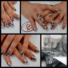 beauty in nails #nail art foil gel foil transfer  #nailart #foil gel black e foil transfer silver #beautyinnails