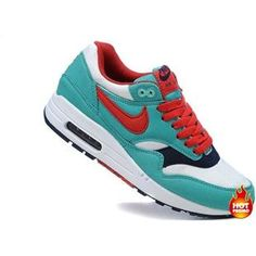Nike Air Max 1 Women Shoes Lake Blue/White/Red Color