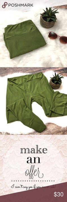 LULAROE Solid Olive Green Leggings LULAROE Solid Olive Green Leggings in Tc - tall and curvy. Excellent condition, no signs of wear. LuLaRoe Pants Leggings