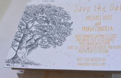 Save the Date with our Vieux Oak invitations, a San Diego favorite!