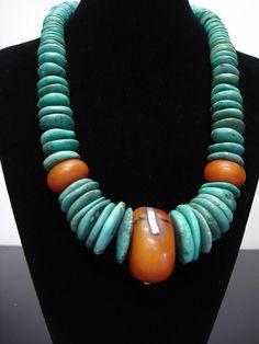 Huge Tibetan Turquoise Discs & African 'Amber' by GEMILAJewels, $495.00