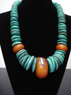 Huge Tibetan Turquoise Discs & African 'Amber' Necklace Huge Tibetan Turquoise Discs & African 'Amber' Necklace Huge Tibetan Turquoise Discs & African 'Amber' Necklace  An awesome piece for women who adore big and bold statement necklaces!