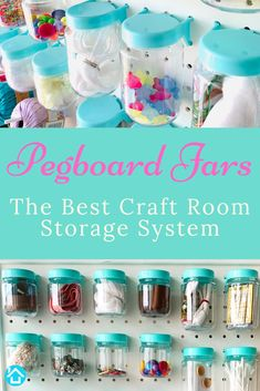 Jul 2019 - Pegboard jars simplify your craft room supplies and accessories organization. No more searching through bags of stuff trying to find the one last piece you need to finish your project. Everything organized, displayed, and at your fingertips. Pegboard Craft Room, Pegboard Organization, Cricut Craft Room, Craft Room Storage, Garage Storage, Kitchen Pegboard, Craft Desk, Craft Space, Accessories