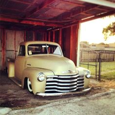 Low Chevy Truck, hot wheels, barn, tree, fence, oldsmobile, vehicle, transportation, history, photo.