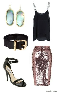Holiday Party trendy look - pink sequin pencil skirt, silky camisole, Kendra Scott earrings | from www.LizzAubrey.com