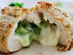 One of my favorite dinners to make in college (back before I could cook) were these frozen broccoli and cheese stuffed chicken breasts. I could eat two at a time, until I found out that they were pack(Chicken Breastrecipes Spinach) I Love Food, Good Food, Yummy Food, Cheese Stuffed Chicken, Broccoli Stuffed Chicken, Healthy Stuffed Chicken, Grilled Chicken, Baked Chicken, Broccoli And Cheese
