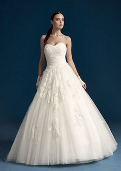 2016 A-Line Sweetheart Neckline Ruched Lace Floor Organza Wedding Dresses 14657