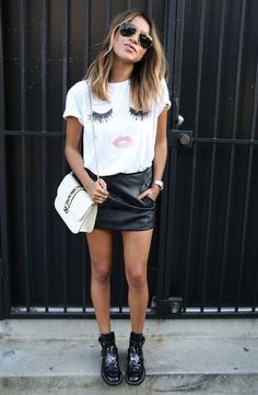 Leather skirt and graphic tshirt x