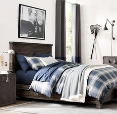 RH TEEN's Baldwin Plaid & Garment-Dyed Vintage Cotton Bedding Collection:Our bold plaid – a timeless classic – is woven from pure cotton that has been yarn dyed for lasting color and washed for added softness.