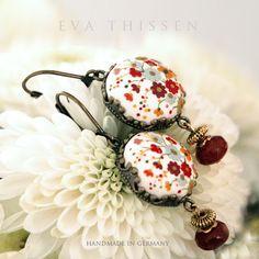 SNOW WHITE. Medium size handmade polymer clay earrings. Made to order. $48.00, via Etsy.