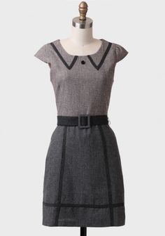 New Alresford Belted Tweed Dress By Knitted Dove | Modern Vintage Dresses | Modern Vintage Clothing