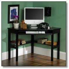 Fabulous Corner Computer Desks For Home Office Furniture : Elegant Black Wood Corner Computer Desk with Keyboard Storage and Teal Wall Painting also Wooden Floor for Awesome Home Office Design Black Desk, Black Corner Computer Desk, Desk With Keyboard Tray, Computer Desks, Small Computer, Corner Office, Black Wood, Computer Nook, Computer Gadgets