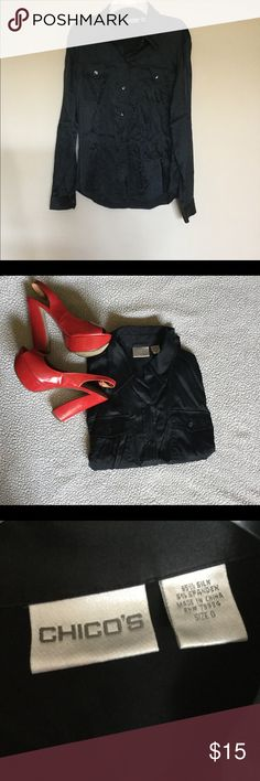 Black Chico's silk blouse This blouse is very soft on the skin and comfortable. Can be worn alone or with a jacket. If you have any other questions about this listing, don't hesitate to ask! Chico's Tops Blouses