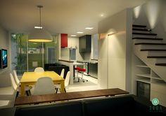 Projeto do escritório Atelier da Reforma. Refúgio do artista - Salas integradas com cozinha