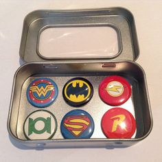 DC Comic Hero Fridge Magnets in Gift Tin Superman Batman Superman, Batman, Dc Comics Heroes, Tin Gifts, Justice League, Magnets, Best Gifts, Handmade, Etsy