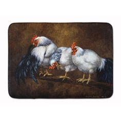 Caroline's Treasures Roosting Rooster and Chickens Machine Washable Memory Foam Mat at Lowe's. Artwork on the floor of your bathroom. Plush top and very comfortable to the touch. This is a Machine Washable bath or kitchen mat that is made with Plastic Box Storage, Glass Cutting Board, Cutting Boards, Painted Boards, Coq, Print Artist, Artwork Prints, Memory Foam, Kitchen Mat