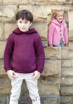 Sweater and Jacket in Hayfield Chunky with Wool - 2414 - Downloadable PDF. Discover more patterns by Hayfield at LoveKnitting. The world's largest range of knitting supplies - we stock patterns, yarn, needles and books from all of your favourite brands.