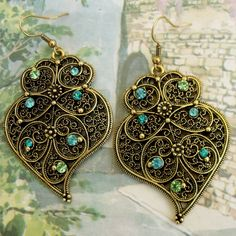 Viana Portuguese FOLK gold filigree HEART earrings with crystals