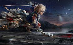 Lataa kuva Violetti Evergarden, 4k, manga, yö, miekka, anime merkkiä