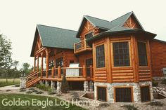 """290 Likes, 4 Comments - Golden Eagle Log & Timber (@goldeneagleloghomes) on Instagram: """"The beautiful octagon room on our Country's Best model home.  Photos and floor plans of this custom…"""""""