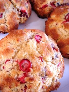 Low Fat Cranberry Scones from LaaLoosh.  I added zest of one orange and cut the milk (regular non fat) to 3/4 cup.