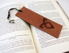 Angelic Power Rune Leather Bookmark With Beaded Angel Dangle - The Mortal Instruments