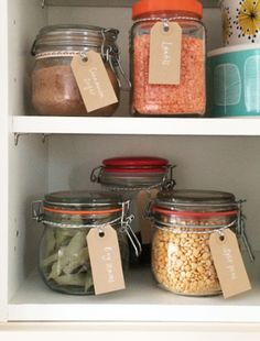 Banish messy plastic packaging and organise dry pantry staples using Mason jars or washed-out jam jars. Don't restrict yourself to one size - a mixture can be useful and will look stylish stored together.
