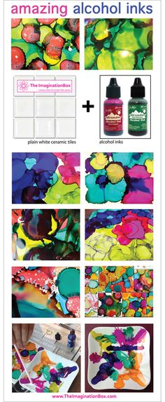 create amazing abstract patterns with alcohol inks on ceramic tiles