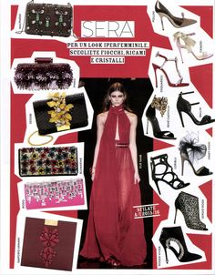 Grazia Italy August 2015. RODO Spring 2015 cherry satin Soft Box
