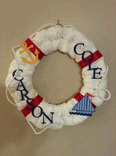 Decoración con pañales estilo marinero