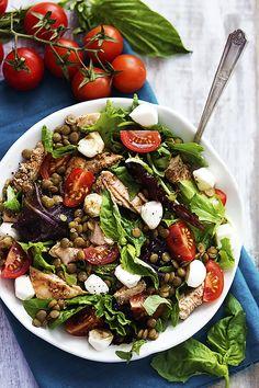 Salmon and Lentil Caprese Salad - Pulse Pledge