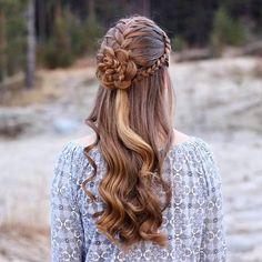 "676 Me gusta, 47 comentarios - Hairstyles & Braids (@prettyhairstyleess) en Instagram: ""French Braids Into a Flower  The hairstyle is inspired by @cute_braids ✨#prettyhairstyleess"""
