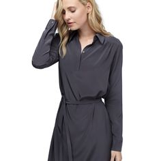 Gathered Silk Shirt Dress  Anthracite