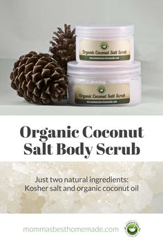 If you're looking for a simple all-purpose scrub, this one's for you. Use it to revive aching feet or indulge in a gentle full-body exfoliation. Refreshingly simple, with organic fresh-pressed coconut oil for a subtle hint of coconut scent. [Natural skincare, homemade, organic, coconut oil]