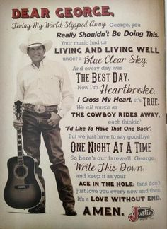 I just saw him yesterday 6/1 in San Antonio. I cried when he sang The Cowboy Rides Away. This is perfect!!