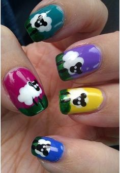 Shaun (the sheep) nails: They look very cute on blue or any colorful background. You only need dotting tools to make them on your nails.