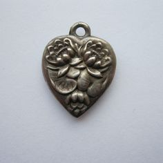 Vintage Sterling Water Lily Flower Heart Charm from cloviescharm on Ruby Lane