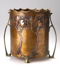 Carl Deffner, Germany, Art Nouveau copper and brass wine cooler, 25.5 cm. high
