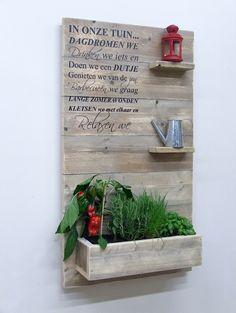 Wanddecoratiebord oud steigerhout muursticker IN ONZE TUIN H100xB60cm voorraad (1452014) | Wanddecoratieborden | JORG`S Houten Meubelen