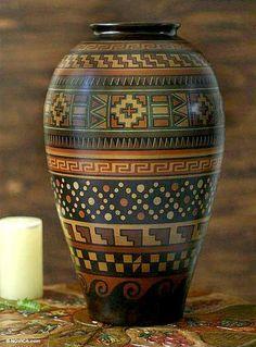 Aged Cuzco vase, 'Symbols' by NOVICA