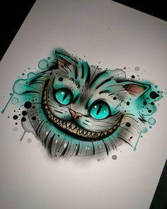 New art tatoo: New art tatoos, tatoo, tatuagens, desenhos para ta. Cute Disney Drawings, Cool Art Drawings, Art Drawings Sketches, Tattoo Drawings, Sketch Tattoo, Tattoo Ink, Drawing Ideas, Cheshire Cat Drawing, Cheshire Cat Tattoo
