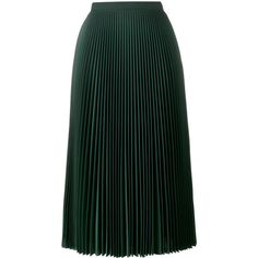 Prada pleated midi skirt (€1.095) ❤ liked on Polyvore featuring skirts, bottoms, green, high waisted pleated skirt, high-waisted skirt, green high waisted skirt, calf length skirts and high waisted knee length skirt