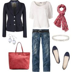 Business casual work outfit: Navy blazer, white tee, jeans, red scarf. Pearl earrings. I'd go with less distressed jeans for work, even on a casual Friday.