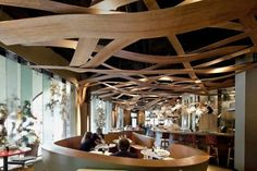 Woven Wood Ceilings - The Ikibana Restaurant by El Equipo Creativo is Whimsical and Warm (GALLERY) Ceiling Detail, Ceiling Design, Commercial Design, Commercial Interiors, Art Floral Japonais, Plafond Design, Restaurant Interior Design, Restaurant Layout, Art Restaurant