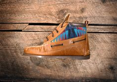 Handcrafted HIGHTOP Leather Boat Shoes - Distressed Tan w/ Teal Pendleton detail